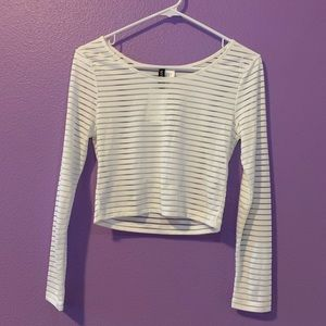 White striped Long sleeve crop top